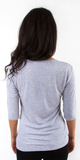 Heather Grey Quarter Sleeve V Neck Ribbed Knit Top