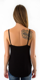 Black Loose Fit V Neck Tank Top