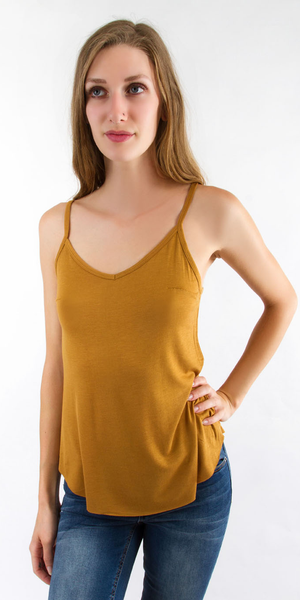 Yellow Loose Fit V Neck Tank Top