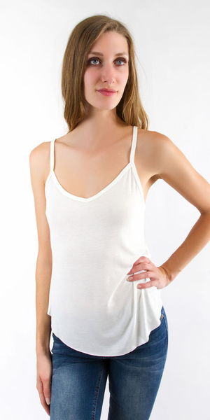 White Loose Fit V Neck Tank Top