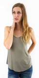 Light Green Loose Fit V Neck Tank Top