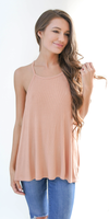 Nude Apricot Loose Fit Ribbed Knit Tank Top