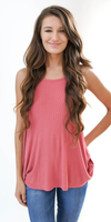 Pink Loose Fit Ribbed Knit Tank Top