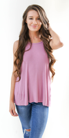 Purple Loose Fit Ribbed Knit Tank Top