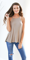 Beige Loose Fit Ribbed Knit Tank Top