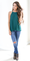 Hunter Green Loose Fit Ribbed Knit Tank Top