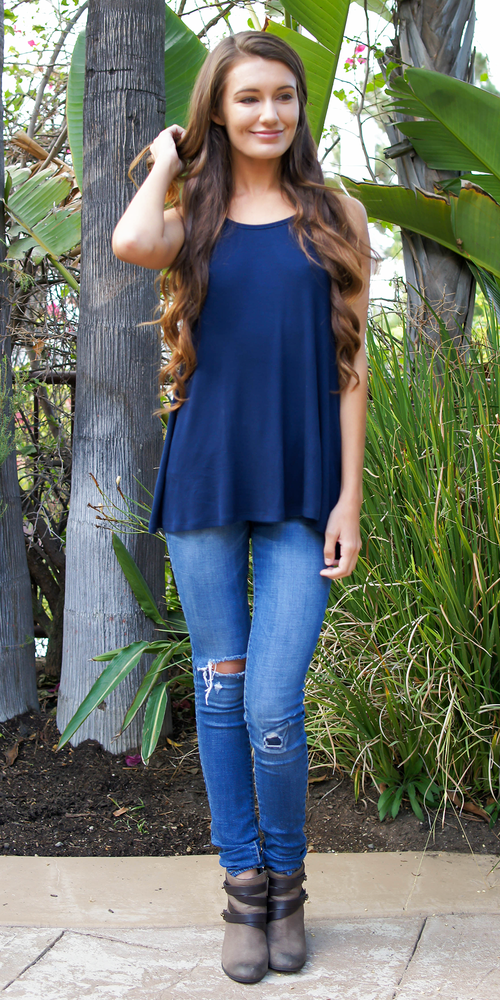 Navy Blue Loose Fit Ribbed Knit Tank Top