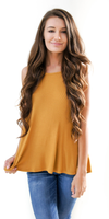 Mustard Yellow Loose Fit Ribbed Knit Tank Top