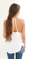 Off White Loose Fit Ribbed Knit Tank Top