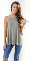 Light Green Loose Fit Ribbed Knit Tank Top