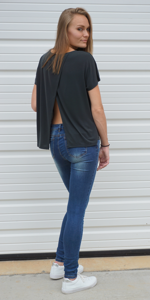 Black Split Open Back Jersey T Shirt