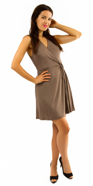 Brown Sleeveless Modal Jersey Wrap Dress