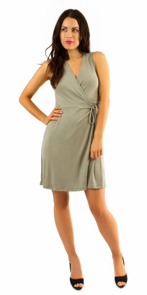 Light Green Sleeveless Modal Jersey Wrap Dress