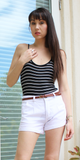 Black White Striped Tank Top Bodysuit