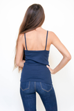 Navy Ribbed Cotton Tank Top