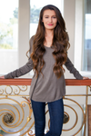 Dark Olive Long Sleeve Loose V Neck Knit Top