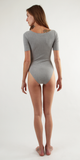 Grey Short Sleeve Ribbed Bodysuit