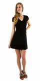 Black Short Sleeve Ribbed Knit Dress