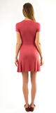 Brick Red Short Sleeve Ribbed Knit Dress