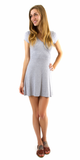 Grey Short Sleeve Ribbed Knit Dress