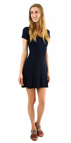 Navy Short Sleeve Ribbed Knit Dress