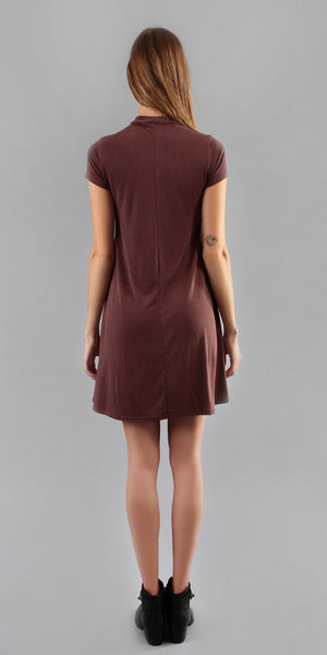 Maroon Red Swing T Shirt Dress