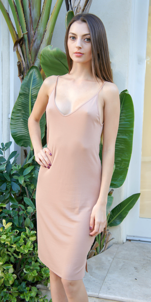Nude Spaghetti Strap Ribbed Knit Tank Dress