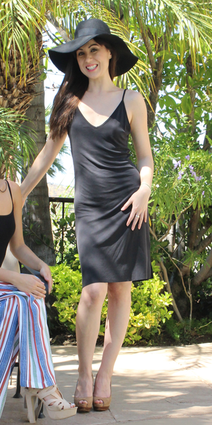 Black Spaghetti Strap Ribbed Knit Tank Dress