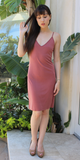 Brick Red Spaghetti Strap Ribbed Knit Tank Dress