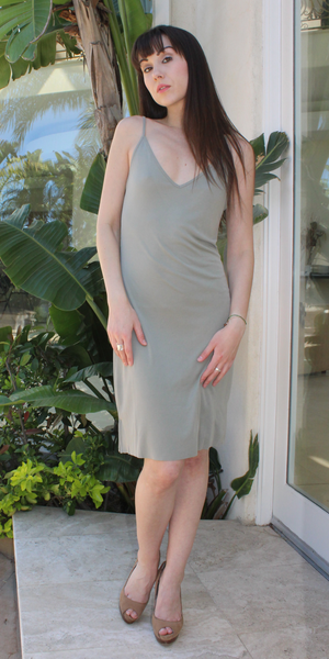 Smoke Green Spaghetti Strap Ribbed Knit Tank Dress