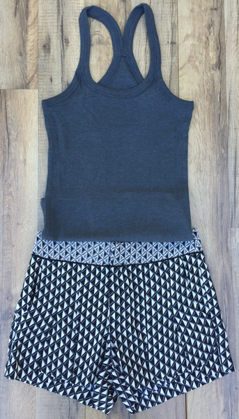 Charcoal Racer Back Ribbed Tank Top