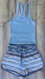Blue Dolphin Grey Racer Back Ribbed Tank Top