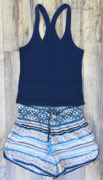 Midnight Navy Racer Back Ribbed Tank Top