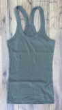 Moss Green Racer Back Ribbed Tank Top