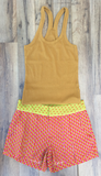 Mustard Yellow Racer Back Ribbed Tank Top