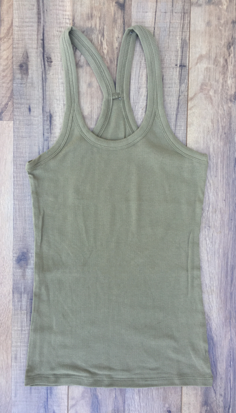 Olive Green Racer Back Ribbed Tank Top