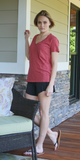 Brick Pink Casual V Neck Pocket T Shirt