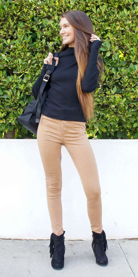 Double V Neck Ribbed Sweater Knit Top