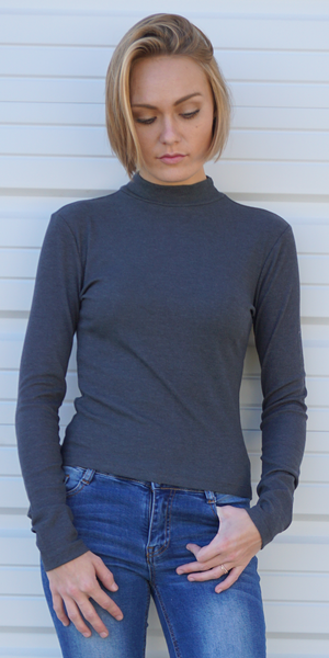 Grey Ribbed Mock Neck Top