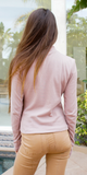 Pink Ribbed Mock Neck Top