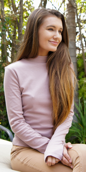 Pink Ribbed Mock Turtleneck Top