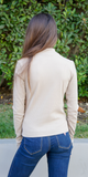 Beige Ribbed Mock Neck Top