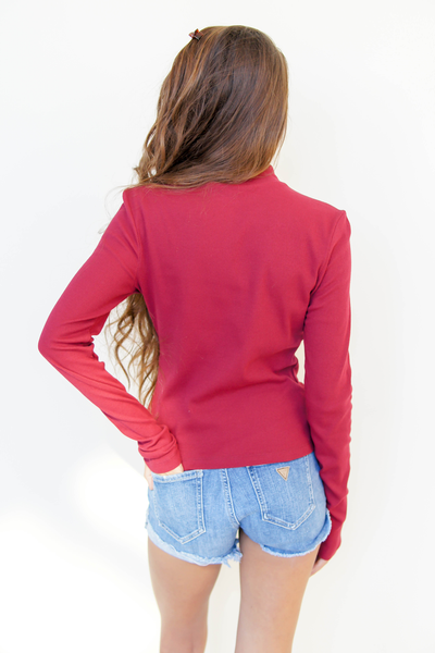 Red Ribbed Mock Turtleneck Top