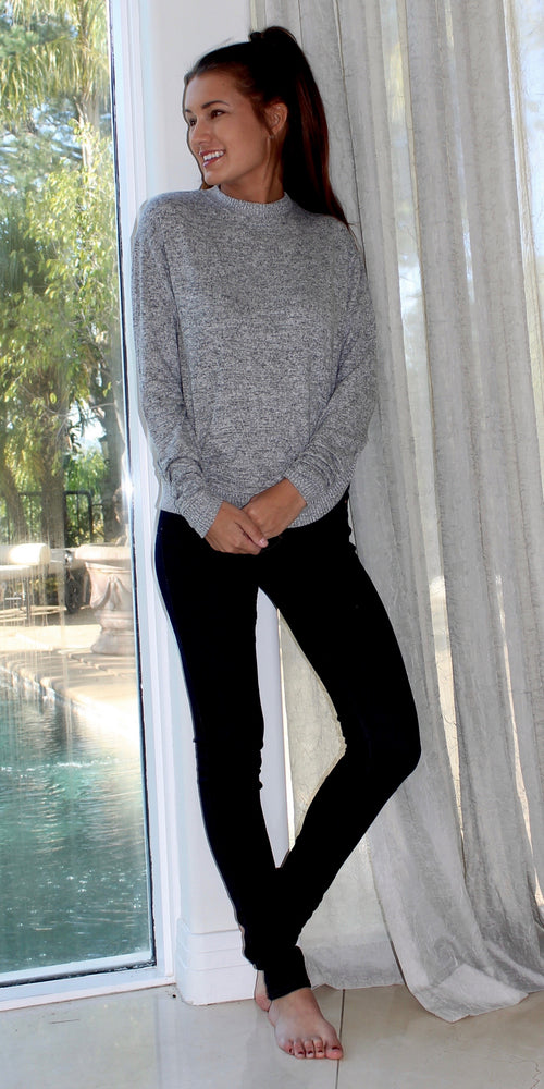 Heather Grey Crew Neck Pullover Sweater