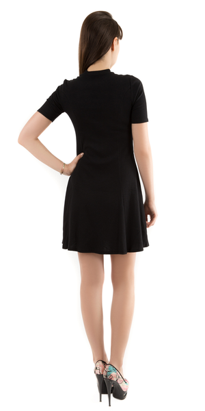 Black Mock Neck Ribbed A Line Mini Dress