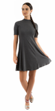 Charcoal Grey Mock Neck Ribbed A Line Mini Dress