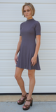 Purple Mock Neck Ribbed A Line Mini Dress
