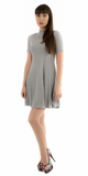 Heather Grey Mock Neck Ribbed A Line Mini Dress