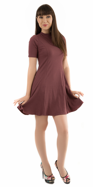 Marsala Purple Mock Neck Ribbed A Line Mini Dress
