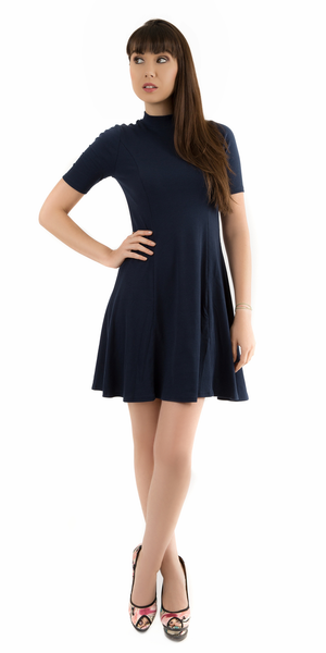 Navy Blue Mock Neck Ribbed A Line Mini Dress